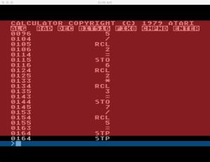 Atari Calculator Programming Mode