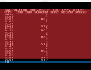 Atari Calculator Programming Mode