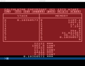 Atari Calculator Program Execution