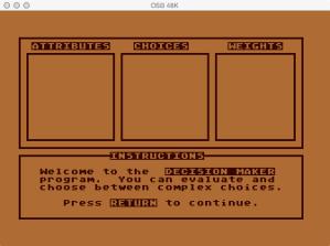 Decision Maker Main Screen