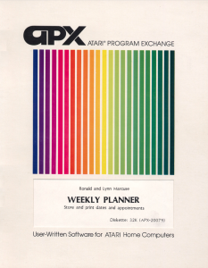 APX Weekly Planner Manual Cover