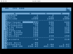VisiCalc Budget Example