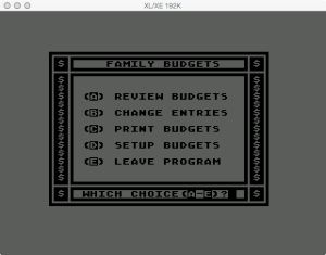 Atari Family Finances Budget Main Menu
