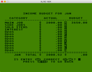 Atari Family Finances Budget Setup