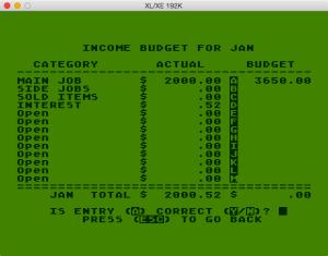 Atari Family Finances Budget Setup