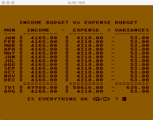 Atari Family Finances Budget Setup Summary