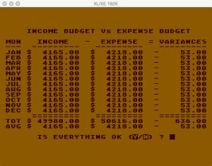 Atari Family Finances Budget Setup Summary