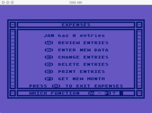 Atari Family Finances Expense Program Menu