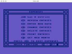 Atari Family Finances Expense Program Menu