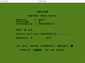 Atari Family Finance Income Program Enter New Data