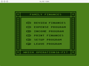 Atari Family Finances Cash Flow Main Menu