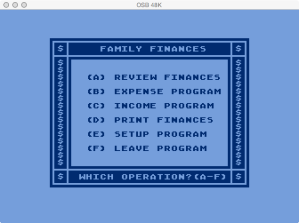 APX Family Cash Flow Main Menu