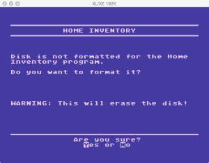 APX Home Inventory Format Data Disk