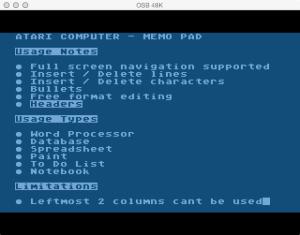 Atari Memo Pad Features