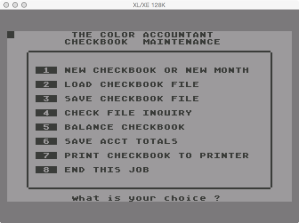 Futurehouse Checkbook Maintenance Menu