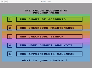 Future Accountant Disk 1 Menu