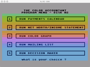 Future Accountant Disk 2 Menu