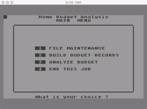 Futurehouse Home Budget Analysis Menu