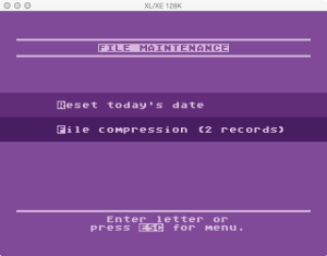 Atari Timewise File Maintenance Menu