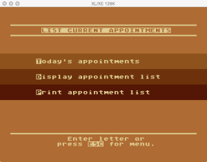 Atari Timewise List Appointments Menu