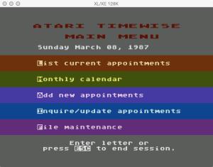 Atari Timewise Main Menu