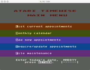 Atari Timewise Menu Ask Date