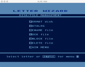 Letter Wizard Disk Menu