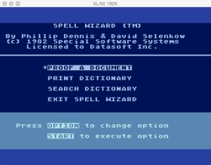 DataSoft Spell Wizard Main Menu
