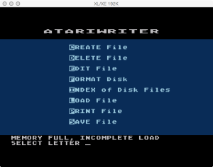 AtariWriter Original Load Failure
