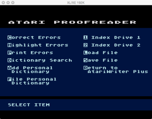 AtariWriter Plus Proof Menu