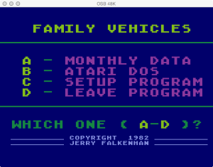 APX Family Vehicle Expense Main Menu