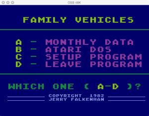 APX Family Vehicle Expense Main Menu