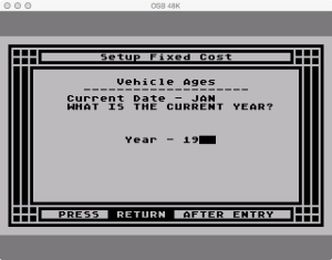 APX Family Vehicle Expense Setup Fixed Cur Year