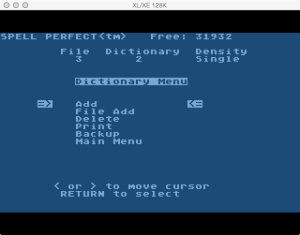 Spell Perfect Dictionary Menu