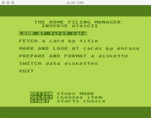 Home Filing Manager Main Menu