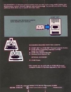 Atari Statistics I Box Back