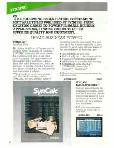 Synapse SynCalc Catalog Page