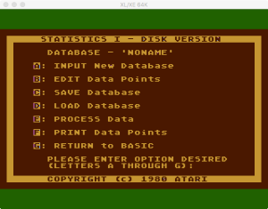 Atari Statistics I Main Menu