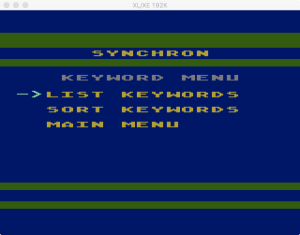 SynChron Keyword Menu
