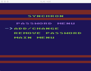 SynChron Password Menu
