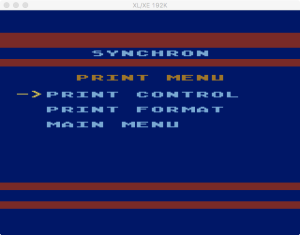 SynChron Print Menu