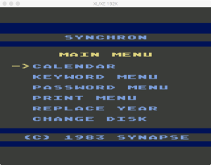 SynChron Main Menu