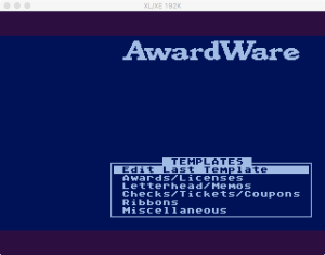 AwardWare 3 00 Menu