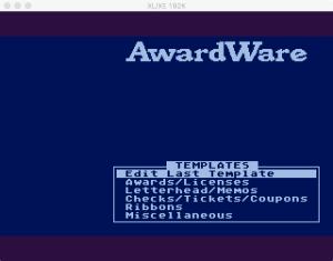 AwardWare 3 00 Menu