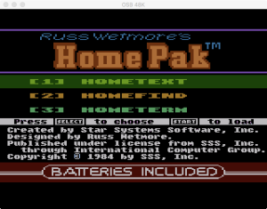 HomePak Main Menu